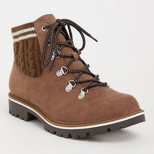 Faux suede and knit wide width hiking boots